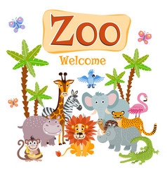 Zoo with wild cartoon safari vector