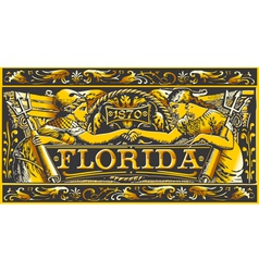 Vintage florida label plaque black and gold vector