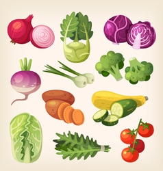 Set of colorful vegetables vector