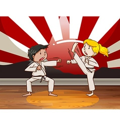 Children fighting martial arts vector