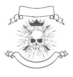 Skull with crown and banners vector