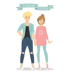 Beautiful cartoon couple fashion clothes vector