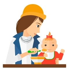 Woman feeding baby vector