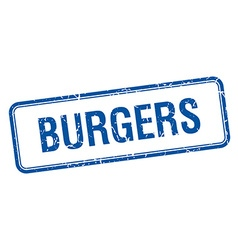 Burgers blue square grungy vintage isolated stamp vector