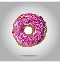 Sweet donut with pink glaze and many vector