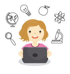 Girl studying online vector