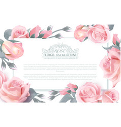 botanical horizontal banner with roses vector image