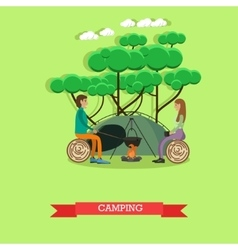 Camping with tent concept in vector