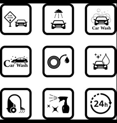 Car wash black icon set vector