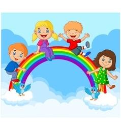 Cartoon Happy kids sitting on rainbow vector image vector image