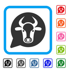 Cow message balloon framed icon vector