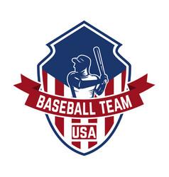 emblem template with baseball player design vector image