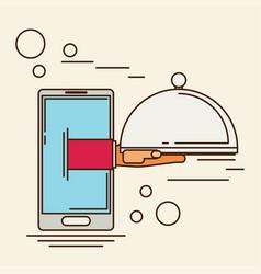 Food creative concept restaurant cloche in hand vector