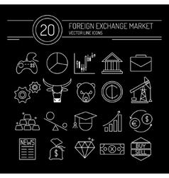 Forex Line Icons Black vector image