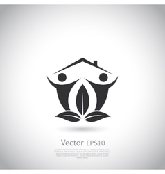Green house logo Happy family icon eco lover vector image vector image
