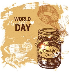 Hand drawn world health day background Sketch vector image