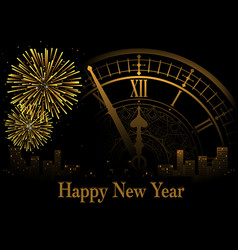 happy new year greeting with clock vector image vector image