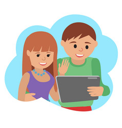 happy young couple with tablet vector image vector image