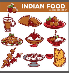Indian cuisine traditional food dishes flat vector