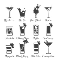 Monochromic drinks icons set vector image vector image