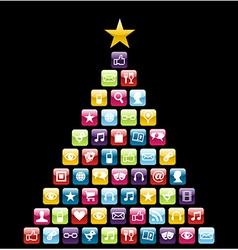 Multimeedia icons Christmas Tree vector image vector image