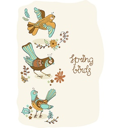 Natural floral background with spring lettering vector