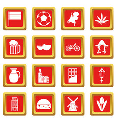 Netherlands icons set red vector