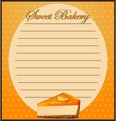 Paper design with orange cheesecake vector
