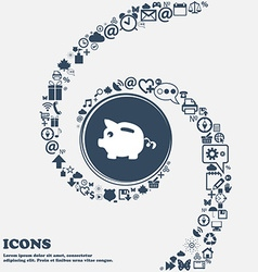 Piggy bank icon in the center around the many vector