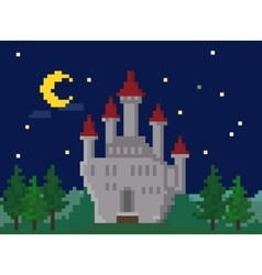 Pixel Night Landscape With Castle vector image