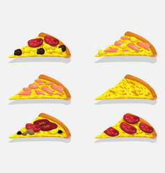 pizza slices collection design vector image