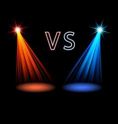 red and blue volume light on black versus battle vector image