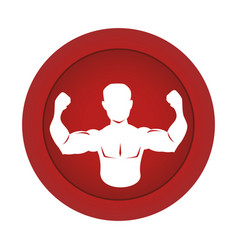 Red circular border silhouette half body muscle vector