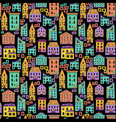 seamless house pattern new-02 vector image vector image