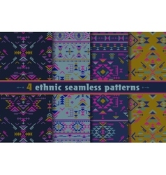 Set of four colorful ethnic seamless patterns vector image