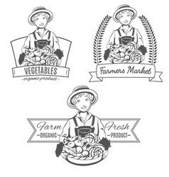 Set of logo with farmer woman vector