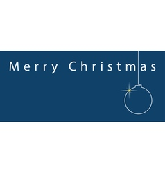 Simple blue christmas card - white text and ball vector