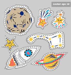 space sticker set vector image