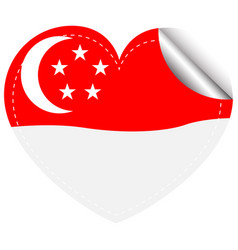 Sticker template for singapore flag vector
