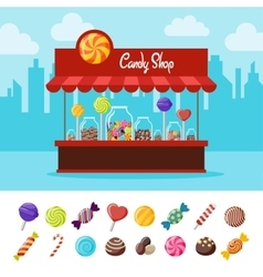 Sweet Candy Flat Composition vector image vector image