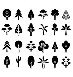 tree icon set 1 vector image vector image