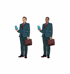 Two businessmen african american and caucasian vector