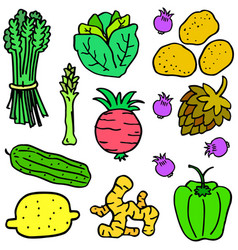 Vegetable object set of doodles vector