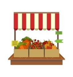 Vegetables on market display vector