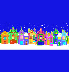 Winter houses with christmas decoration vector