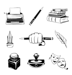 Writer design elements isolated objects vintage vector image vector image