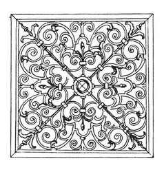 Wrought-iron square panel was designed in 1713 in vector