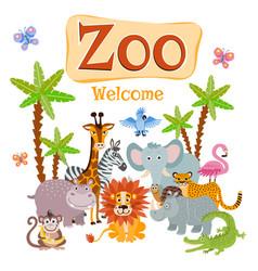 Zoo with wild cartoon safari vector