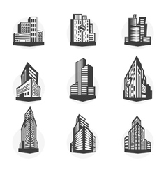 Set of black high-rise buildings and facades of vector