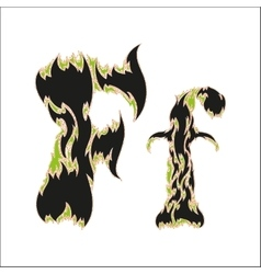 Fiery font black and green letter f on white vector